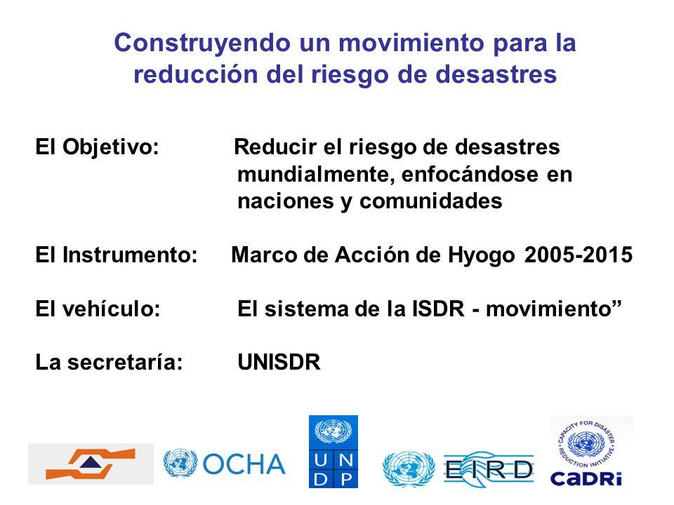 Construyendo un movimiento para la reducción del riesgo de desastres El Objetivo: Reducir el riesgo de desastres mundialmente, enfocándose en naciones