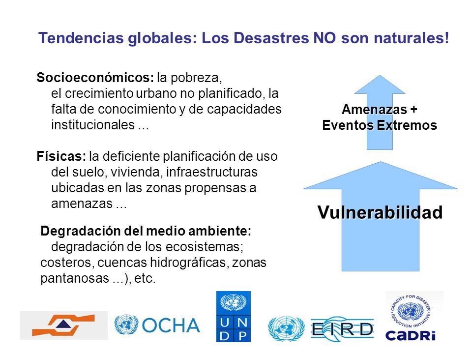 Tendencias globales: Los Desastres NO son naturales! Socioeconómicos: la pobreza, el crecimiento urbano no planificado, la falta de conocimiento y de