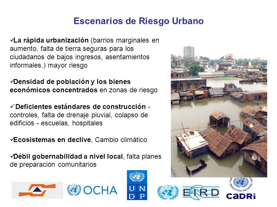 Escenarios de Riesgo Urbano La rápida urbanización (barrios marginales en aumento, falta de tierra seguras para los ciudadanos de bajos ingresos, asen