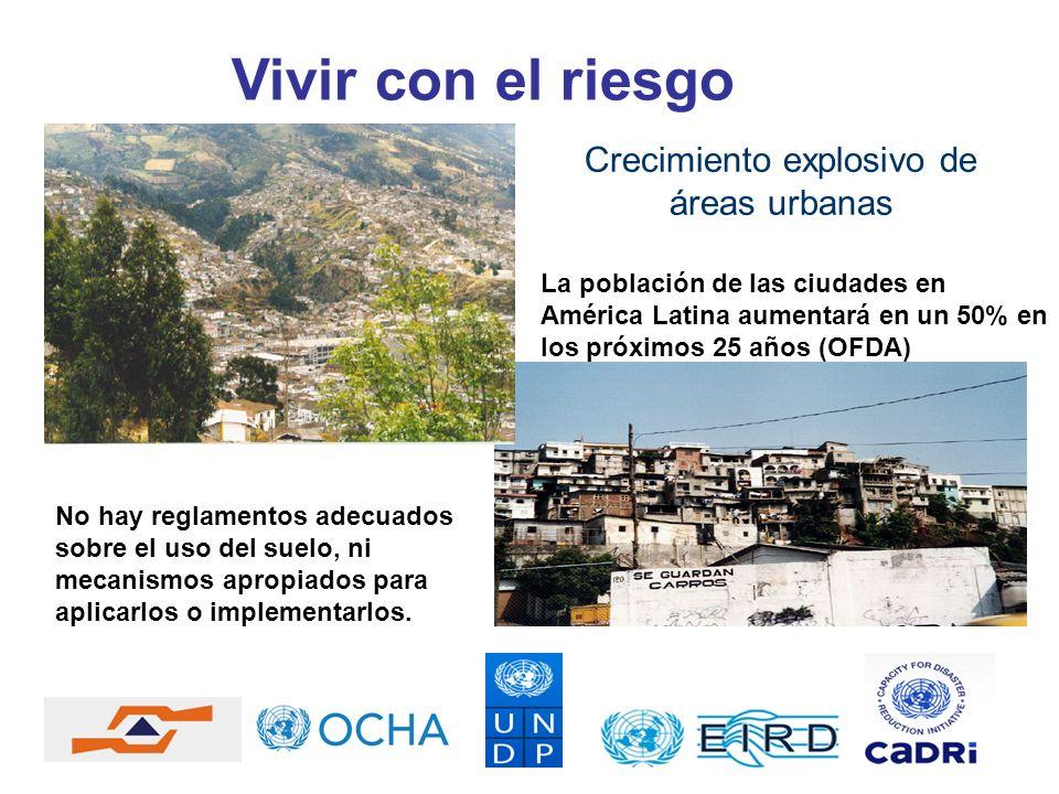 Vivir con el riesgo Crecimiento explosivo de áreas urbanas La población de las ciudades en América Latina aumentará en un 50% en los próximos 25 años