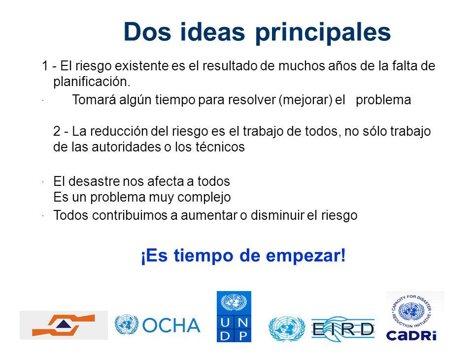 Dos ideas principales 1 - El riesgo existente es el resultado de muchos años de la falta de planificación. Tomará algún tiempo para resolver (mejorar)