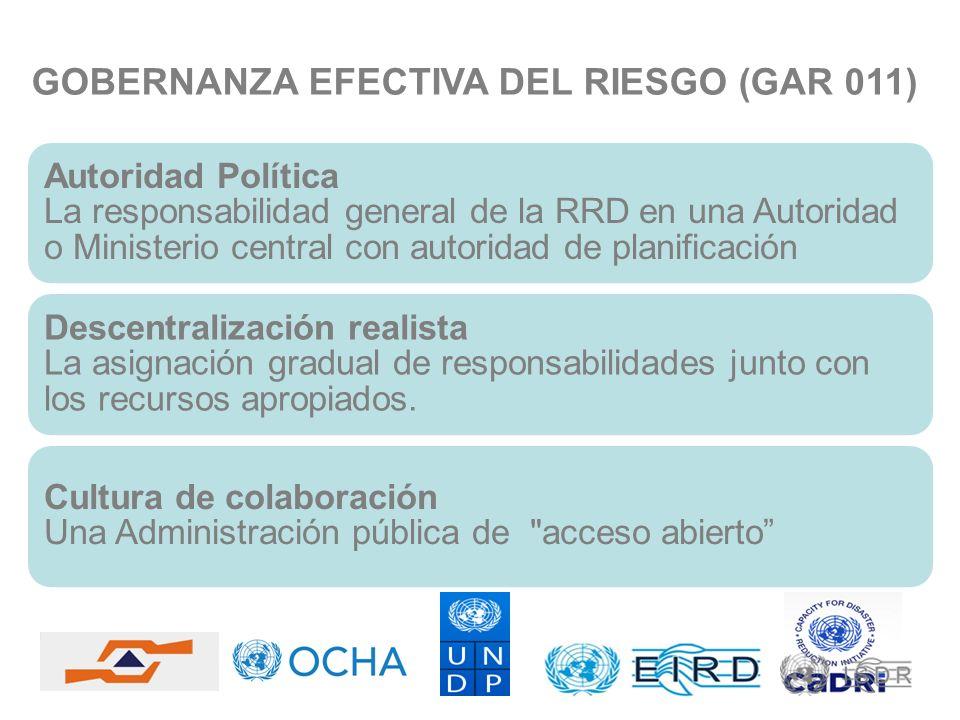 GOBERNANZA EFECTIVA DEL RIESGO (GAR 011) Autoridad Política La responsabilidad general de la RRD en una Autoridad o Ministerio central con autoridad d