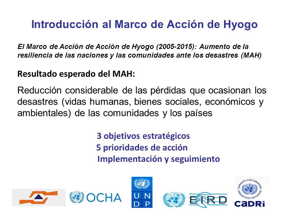 Introducción al Marco de Acción de Hyogo El Marco de Acción de Acción de Hyogo (2005-2015): Aumento de la resiliencia de las naciones y las comunidade