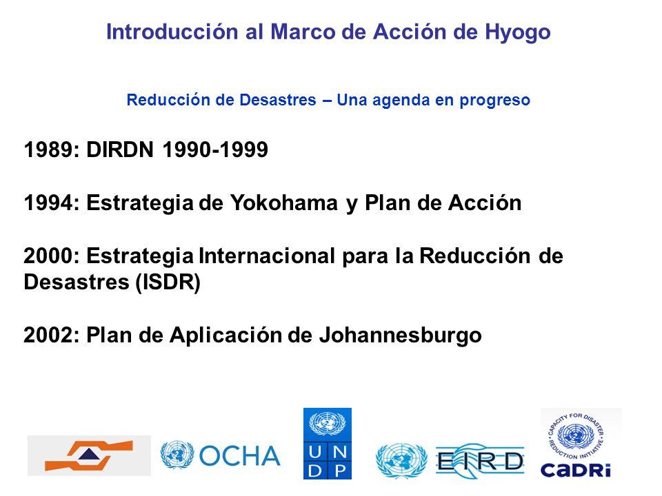Reducción de Desastres – Una agenda en progreso 1989: DIRDN 1990-1999 1994: Estrategia de Yokohama y Plan de Acción 2000: Estrategia Internacional par