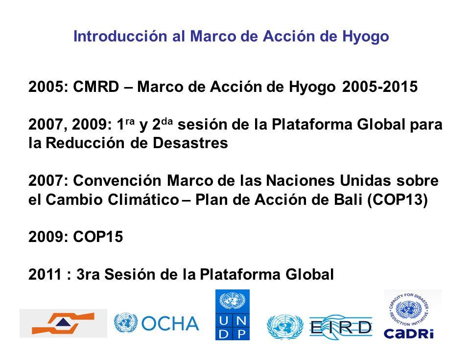 2005: CMRD – Marco de Acción de Hyogo 2005-2015 2007, 2009: 1 ra y 2 da sesión de la Plataforma Global para la Reducción de Desastres 2007: Convención