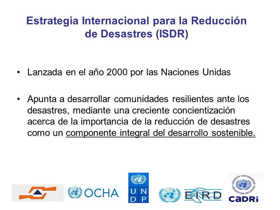 Lanzada en el año 2000 por las Naciones Unidas Apunta a desarrollar comunidades resilientes ante los desastres, mediante una creciente concientización