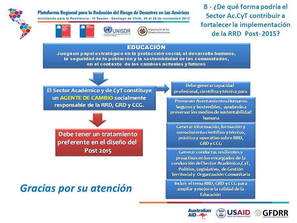 4 Gracias por su atención B - ¿De qué forma podría el Sector Ac.CyT contribuir a fortalecer la implementación de la RRD Post- 2015