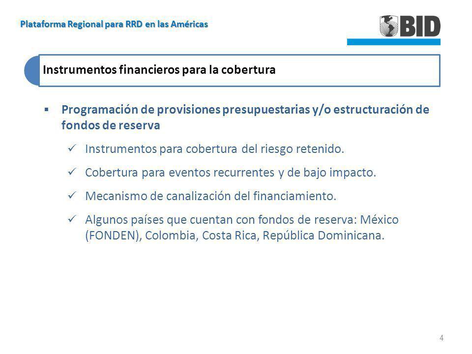 Instrumentos financieros para la cobertura Programación de provisiones presupuestarias y/o estructuración de fondos de reserva Instrumentos para cober