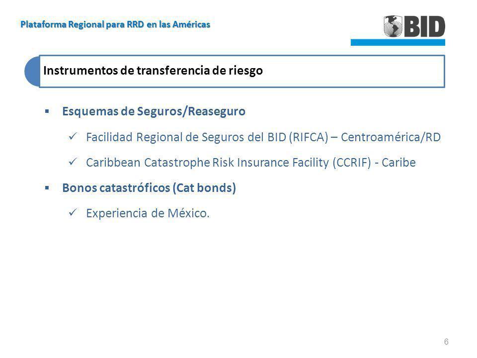 Instrumentos de transferencia de riesgo Esquemas de Seguros/Reaseguro Facilidad Regional de Seguros del BID (RIFCA) – Centroamérica/RD Caribbean Catas