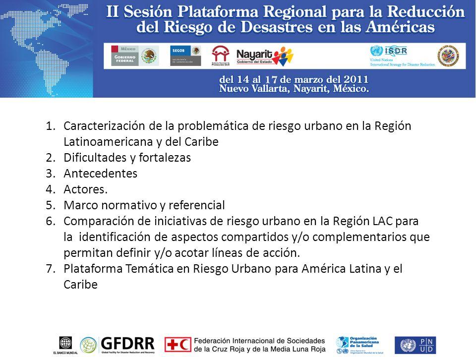 1.Caracterización de la problemática de riesgo urbano en la Región Latinoamericana y del Caribe 2.Dificultades y fortalezas 3.Antecedentes 4.Actores.
