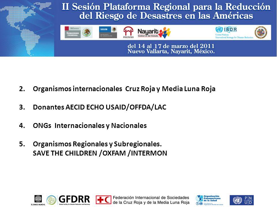 2.Organismos internacionales Cruz Roja y Media Luna Roja 3.