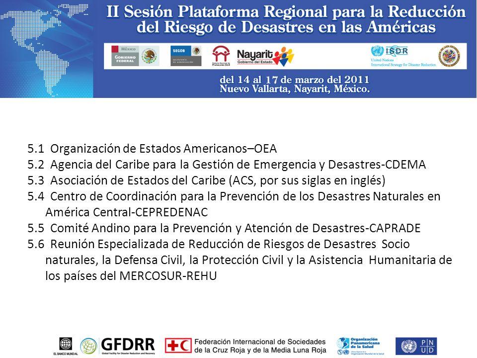 5.1 Organización de Estados Americanos–OEA 5.2 Agencia del Caribe para la Gestión de Emergencia y Desastres-CDEMA 5.3 Asociación de Estados del Caribe (ACS, por sus siglas en inglés) 5.4 Centro de Coordinación para la Prevención de los Desastres Naturales en América Central-CEPREDENAC 5.5 Comité Andino para la Prevención y Atención de Desastres-CAPRADE 5.6 Reunión Especializada de Reducción de Riesgos de Desastres Socio naturales, la Defensa Civil, la Protección Civil y la Asistencia Humanitaria de los países del MERCOSUR-REHU