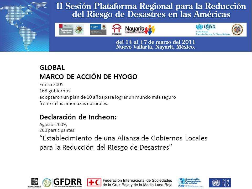GLOBAL MARCO DE ACCIÓN DE HYOGO Enero 2005 168 gobiernos adoptaron un plan de 10 años para lograr un mundo más seguro frente a las amenazas naturales.