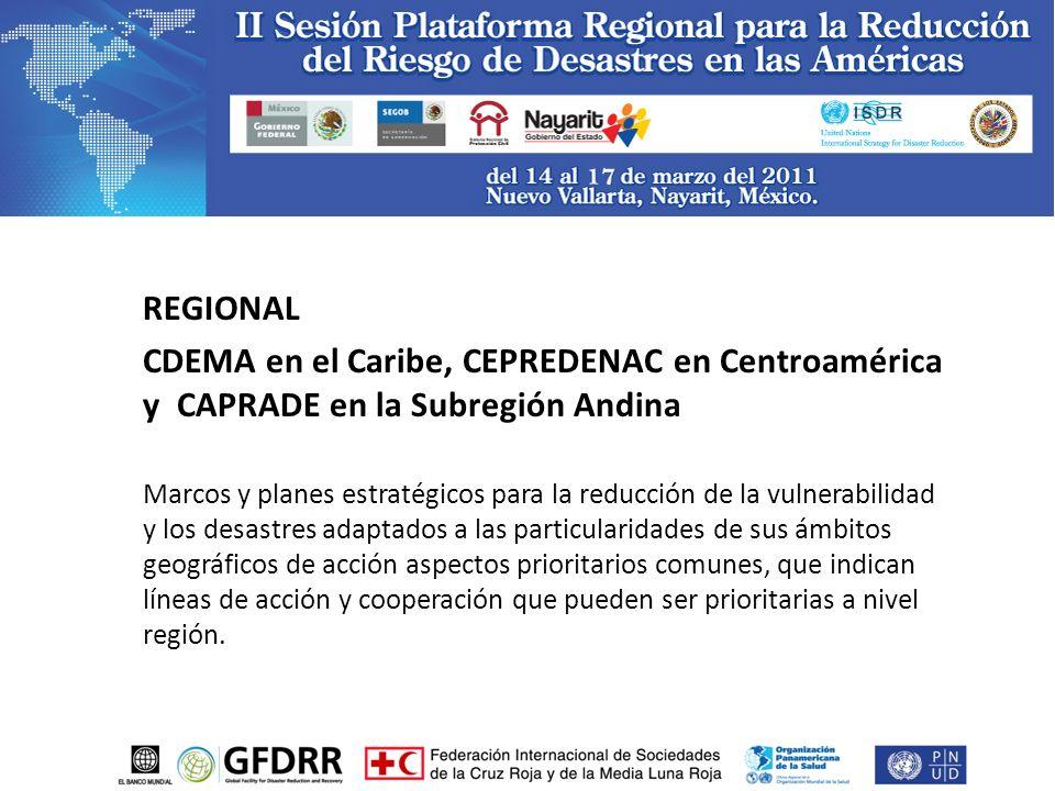 REGIONAL CDEMA en el Caribe, CEPREDENAC en Centroamérica y CAPRADE en la Subregión Andina Marcos y planes estratégicos para la reducción de la vulnerabilidad y los desastres adaptados a las particularidades de sus ámbitos geográficos de acción aspectos prioritarios comunes, que indican líneas de acción y cooperación que pueden ser prioritarias a nivel región.