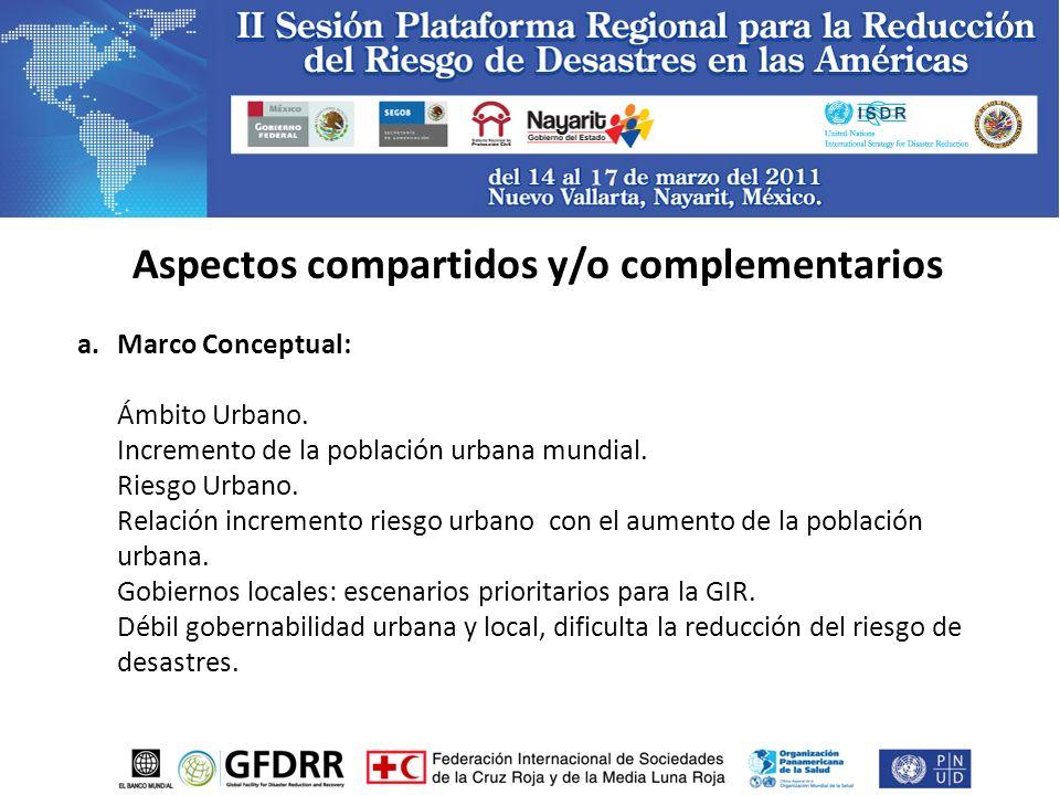 Aspectos compartidos y/o complementarios a.Marco Conceptual: Ámbito Urbano.