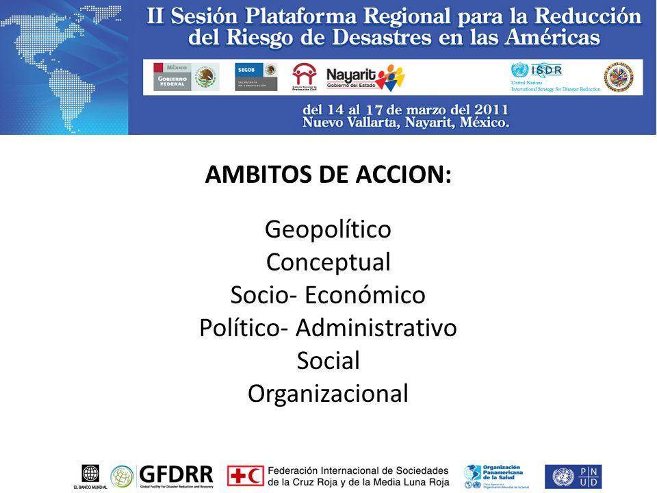 AMBITOS DE ACCION: Geopolítico Conceptual Socio- Económico Político- Administrativo Social Organizacional