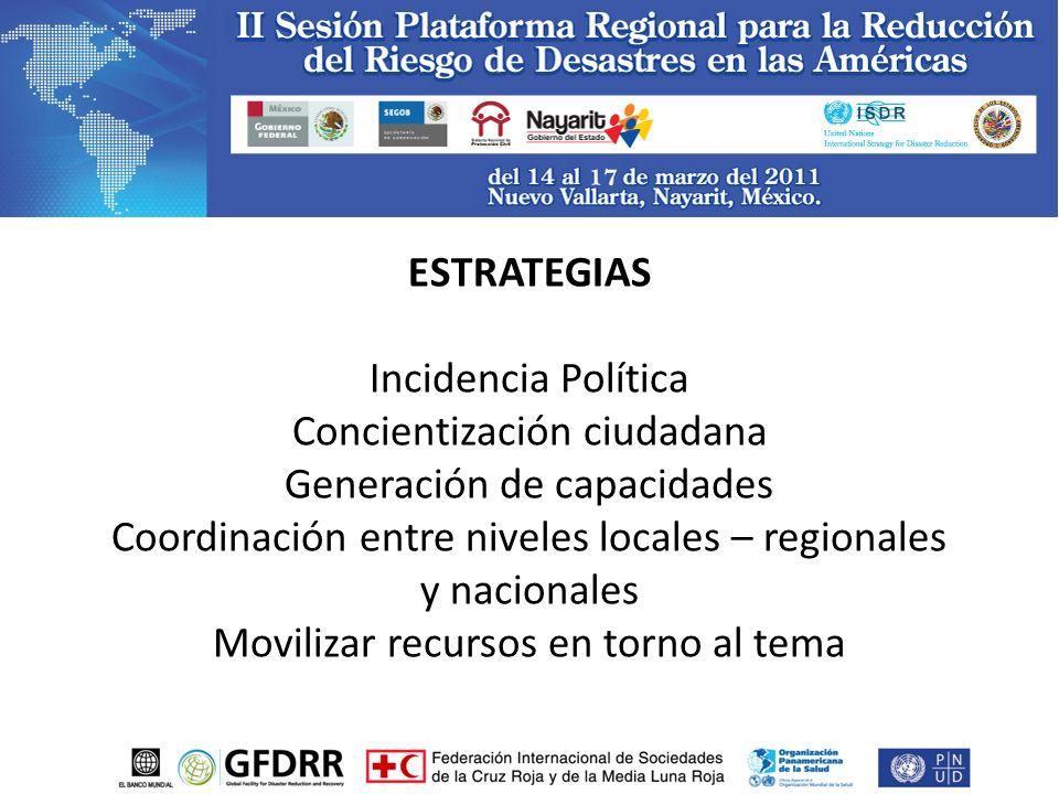 ESTRATEGIAS Incidencia Política Concientización ciudadana Generación de capacidades Coordinación entre niveles locales – regionales y nacionales Movilizar recursos en torno al tema