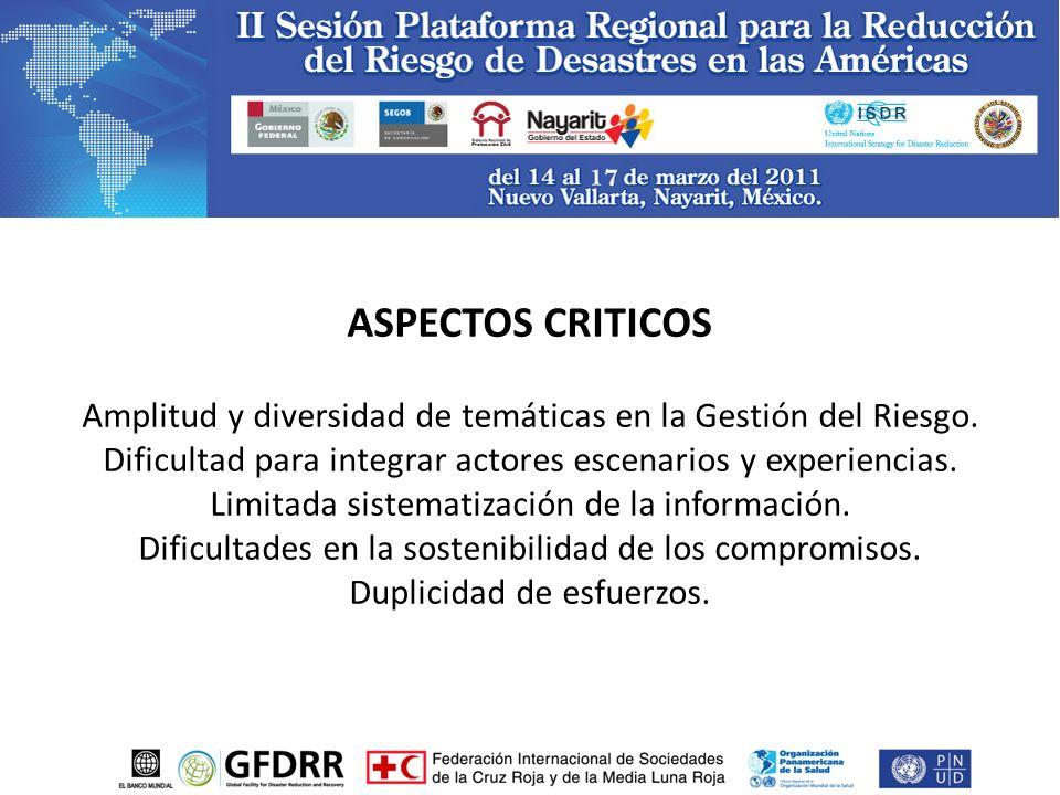 ASPECTOS CRITICOS Amplitud y diversidad de temáticas en la Gestión del Riesgo.