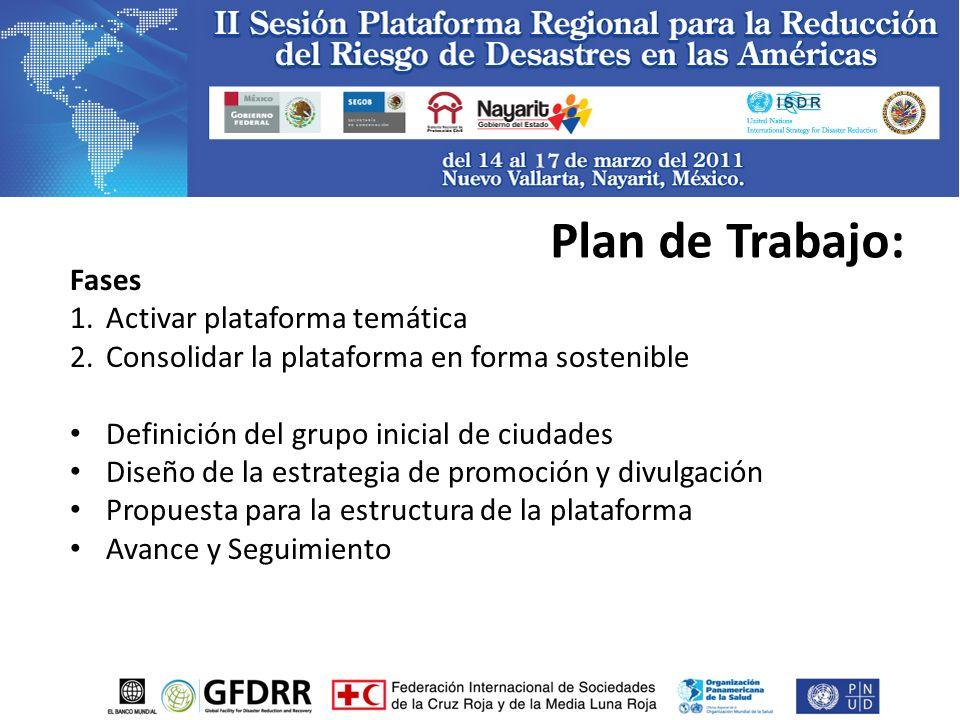 Fases 1.Activar plataforma temática 2.Consolidar la plataforma en forma sostenible Definición del grupo inicial de ciudades Diseño de la estrategia de promoción y divulgación Propuesta para la estructura de la plataforma Avance y Seguimiento Plan de Trabajo: