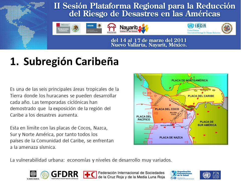 1.Subregión Caribeña Es una de las seis principales áreas tropicales de la Tierra donde los huracanes se pueden desarrollar cada año.