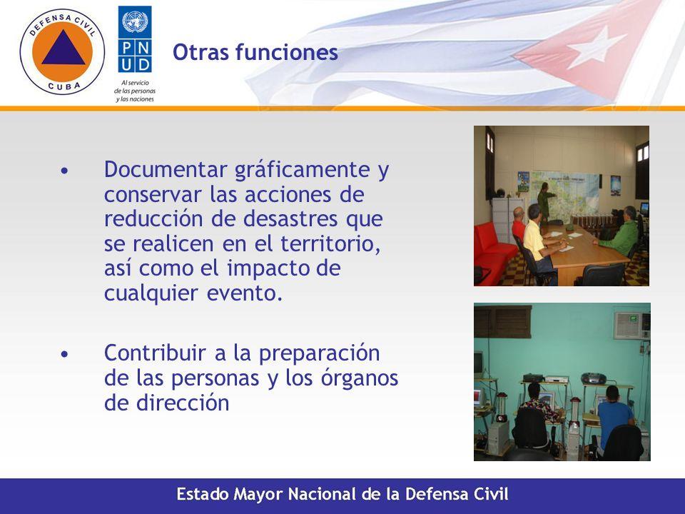 Otras funciones Documentar gráficamente y conservar las acciones de reducción de desastres que se realicen en el territorio, así como el impacto de cu