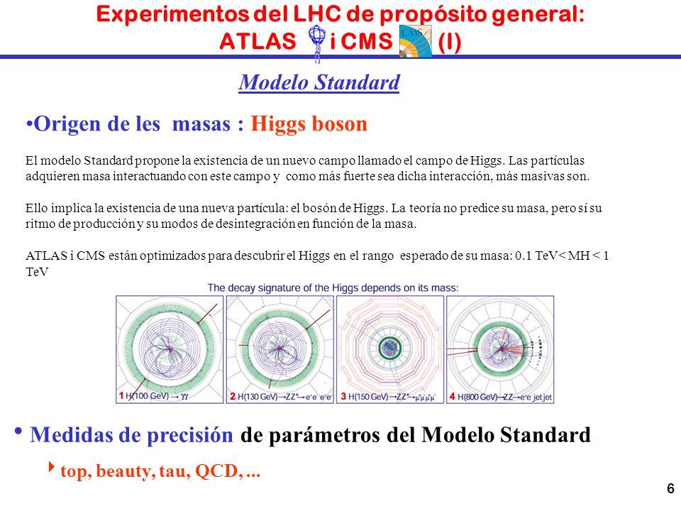 6 Experimentos del LHC de propósito general: ATLAS i CMS (I) Origen de les masas : Higgs boson El modelo Standard propone la existencia de un nuevo ca