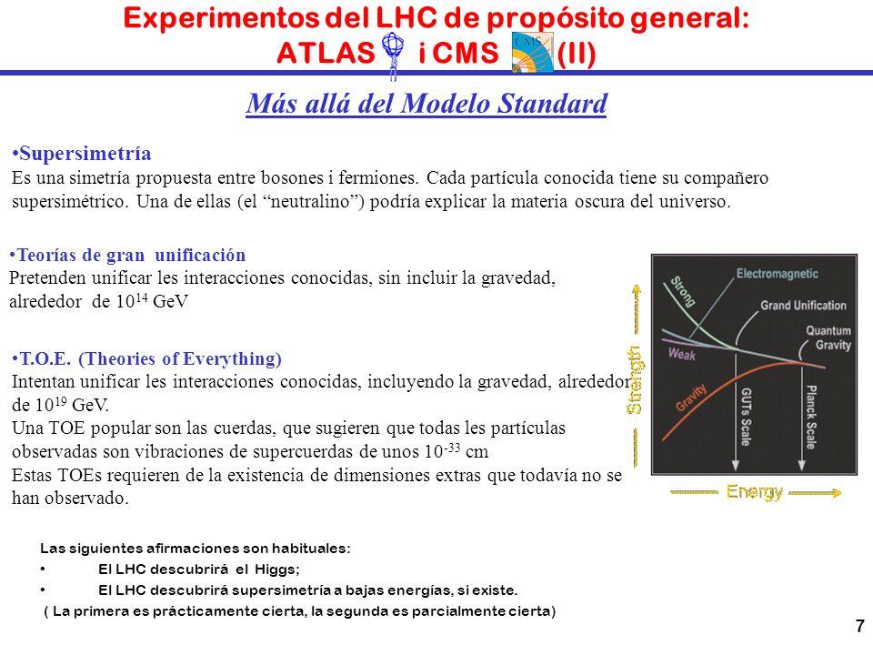 7 Experimentos del LHC de propósito general: ATLAS i CMS (II) Las siguientes afirmaciones son habituales: El LHC descubrirá el Higgs; El LHC descubrir