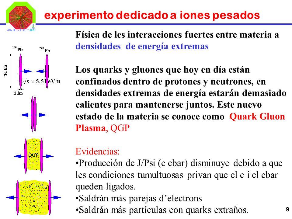 9 experimento dedicado a iones pesados Física de les interacciones fuertes entre materia a densidades de energía extremas Los quarks y gluones que hoy