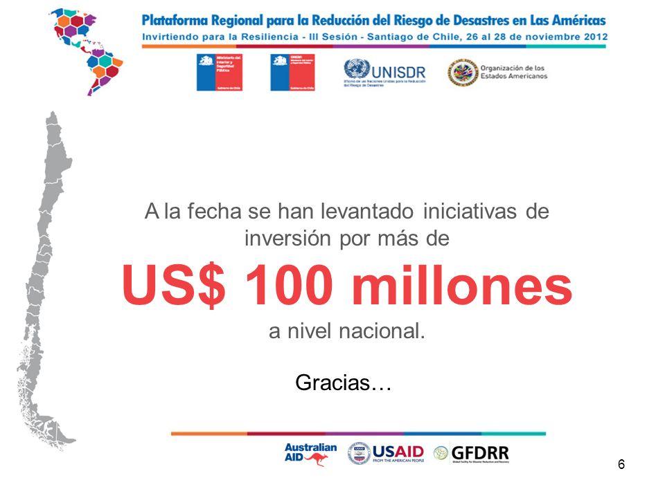 6 A la fecha se han levantado iniciativas de inversión por más de US$ 100 millones a nivel nacional.