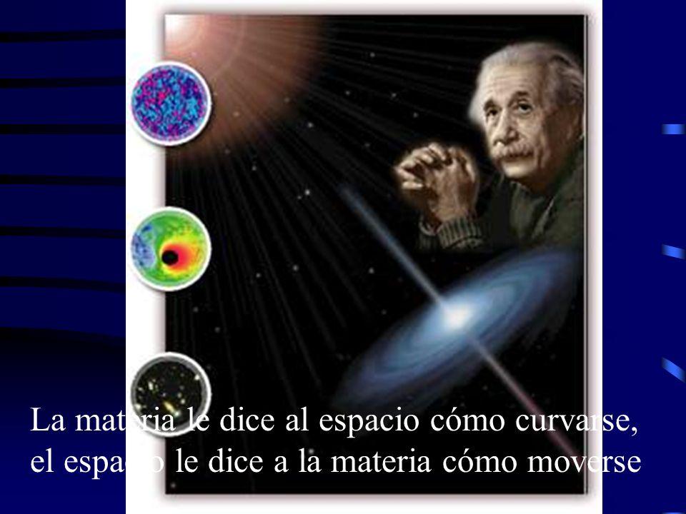 Es la teoría relativista de la gravitación Dos características fundamentales 1.- Espacio-tiempo está afectado por la materia: la masa lo puede curvar 2.- La materia se mueve a lo largo de líneas en el espacio-tiempo curvado LA RELATIVIDAD GENERAL