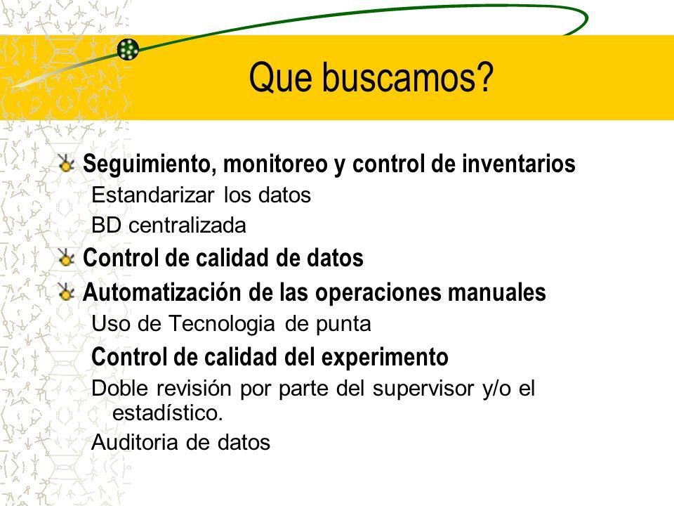 Que buscamos? Seguimiento, monitoreo y control de inventarios Estandarizar los datos BD centralizada Control de calidad de datos Automatización de las