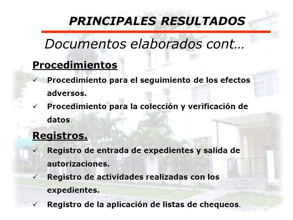 Documentos elaborados PRINCIPALES RESULTADOS Guías técnicas Guías para la evaluación y gestión de los riesgos. Guías para la confección del expediente