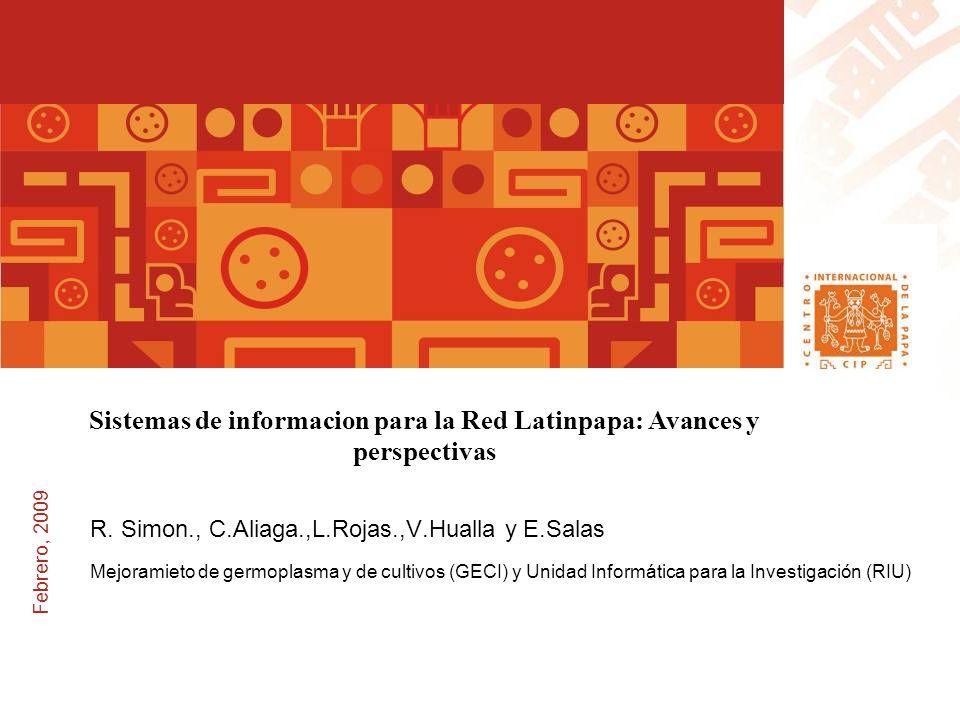Febrero, 2009 Sistemas de informacion para la Red Latinpapa: Avances y perspectivas R.
