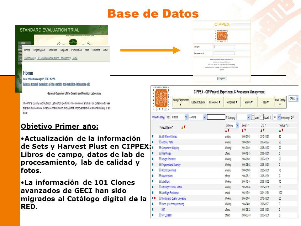 Objetivo Primer año: Actualización de la información de Sets y Harvest Plust en CIPPEX: Libros de campo, datos de lab de procesamiento, lab de calidad y fotos.