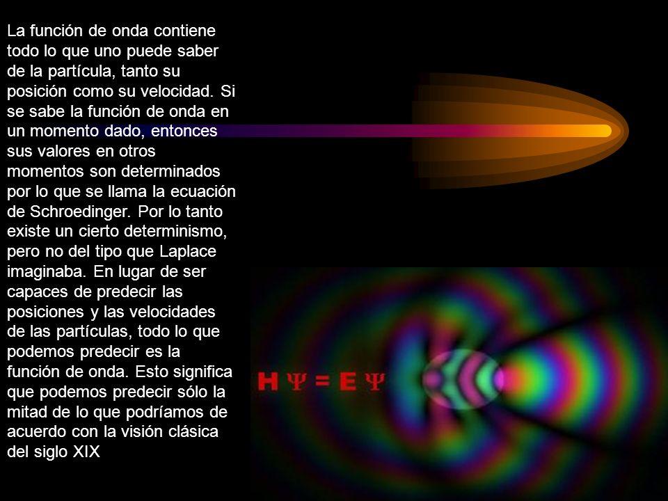 La función de onda contiene todo lo que uno puede saber de la partícula, tanto su posición como su velocidad. Si se sabe la función de onda en un mome