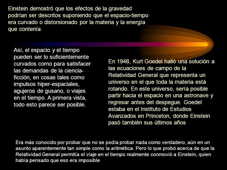 Einstein demostró que los efectos de la gravedad podrían ser descritos suponiendo que el espacio-tiempo era curvado o distorsionado por la materia y l