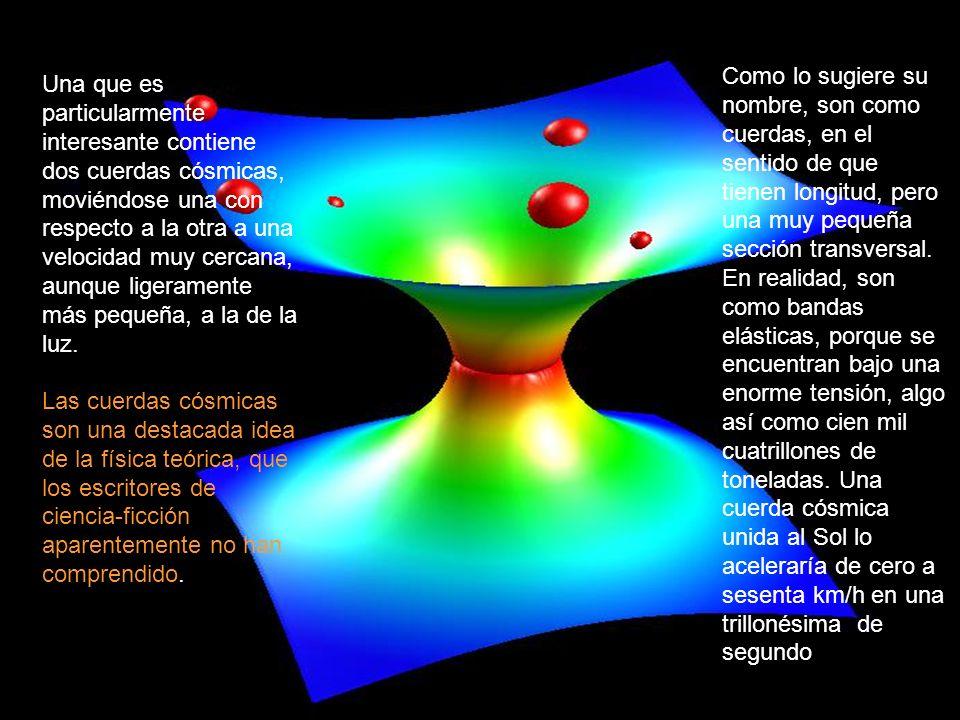 Una que es particularmente interesante contiene dos cuerdas cósmicas, moviéndose una con respecto a la otra a una velocidad muy cercana, aunque ligera
