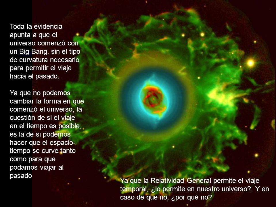 Toda la evidencia apunta a que el universo comenzó con un Big Bang, sin el tipo de curvatura necesario para permitir el viaje hacia el pasado. Ya que