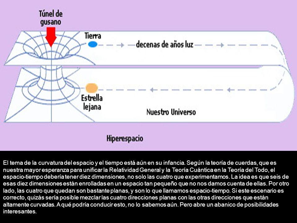 El tema de la curvatura del espacio y el tiempo está aún en su infancia. Según la teoría de cuerdas, que es nuestra mayor esperanza para unificar la R