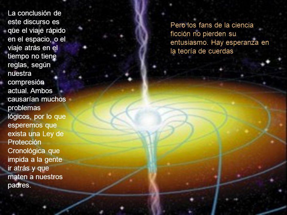 La conclusión de este discurso es que el viaje rápido en el espacio, o el viaje atrás en el tiempo no tiene reglas, según nuestra compresión actual. A
