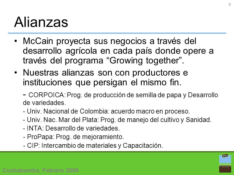 3 Alianzas McCain proyecta sus negocios a través del desarrollo agrícola en cada país donde opere a través del programa Growing together.