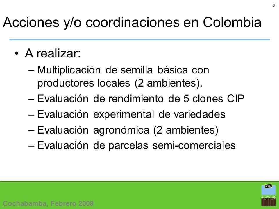 6 Acciones y/o coordinaciones en Colombia A realizar: –Multiplicación de semilla básica con productores locales (2 ambientes).