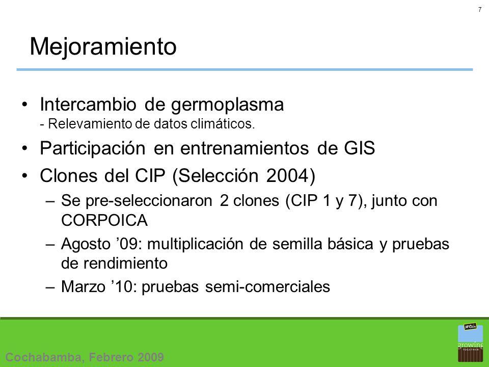 8 Diseminación Agosto 09: multiplicación de semilla de 25 clones (selección 2006) con productores locales (2 o 3 localidades).