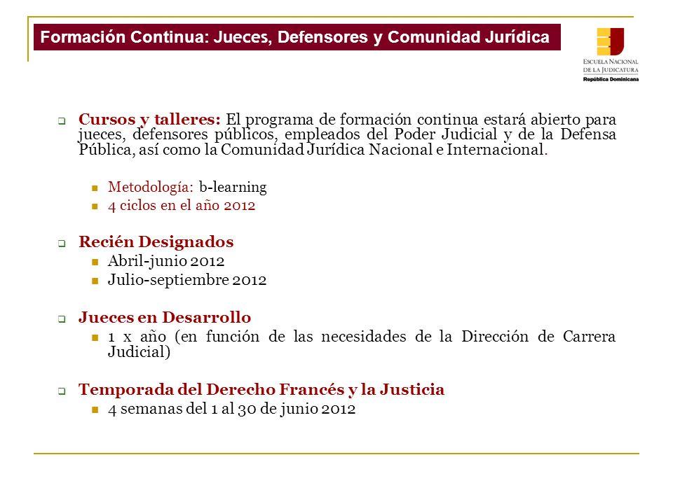 Cursos y talleres: El programa de formación continua estará abierto para jueces, defensores públicos, empleados del Poder Judicial y de la Defensa Pública, así como la Comunidad Jurídica Nacional e Internacional.