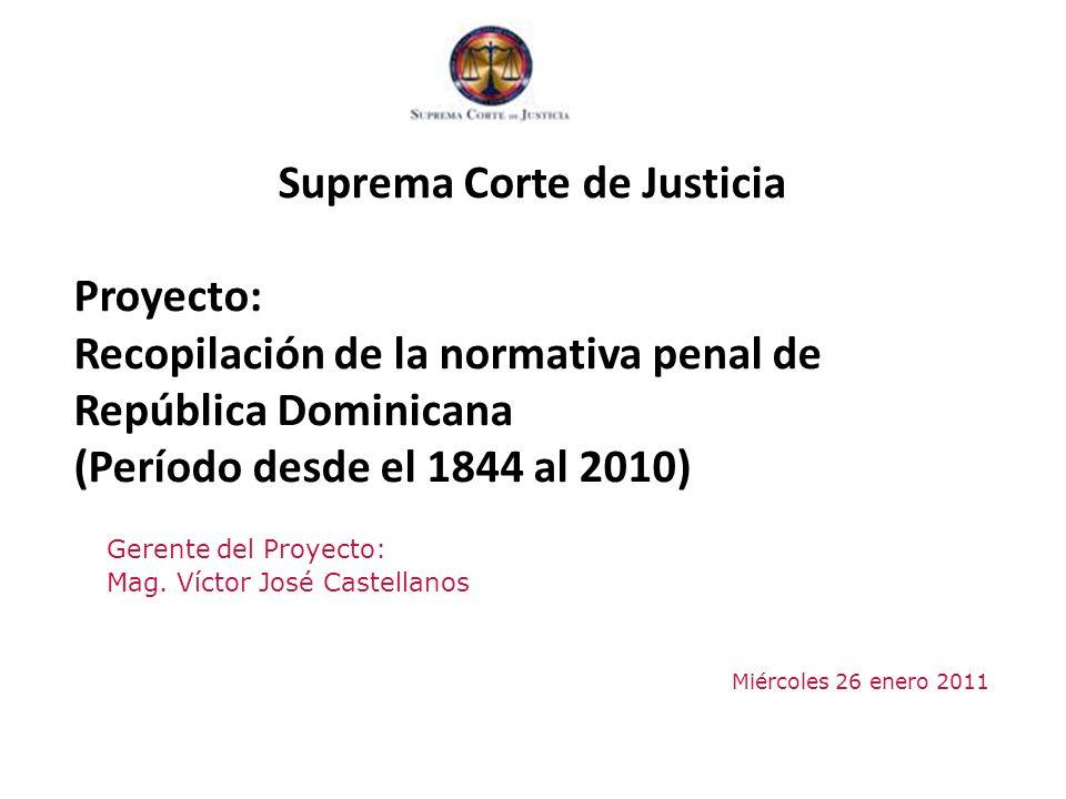 Índice 1.Pertinencia con Plan Estratégico Suprema Corte de Justicia 2.Objetivo 3.Expectativas 4.Contenido del Proyecto 1.Primera Fase 2.Segunda Fase 3.Tercera Fase 5.Entregables – Metas 6.Cronograma 7.Estimación Presupuestaria ____________________________________________ Proyecto Recopilación Normativa Penal