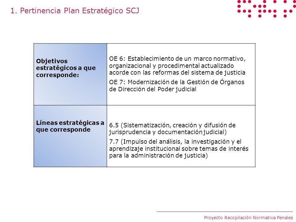 1. Pertinencia Plan Estratégico SCJ Objetivos estratégicos a que corresponde: OE 6: Establecimiento de un marco normativo, organizacional y procedimen