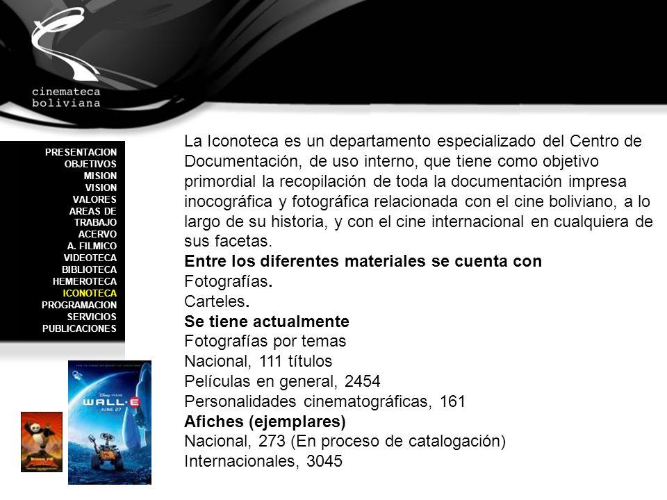 La Iconoteca es un departamento especializado del Centro de Documentación, de uso interno, que tiene como objetivo primordial la recopilación de toda