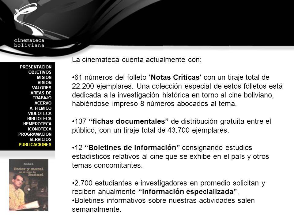 La cinemateca cuenta actualmente con: 61 números del folleto 'Notas Críticas' con un tiraje total de 22.200 ejemplares. Una colección especial de esto