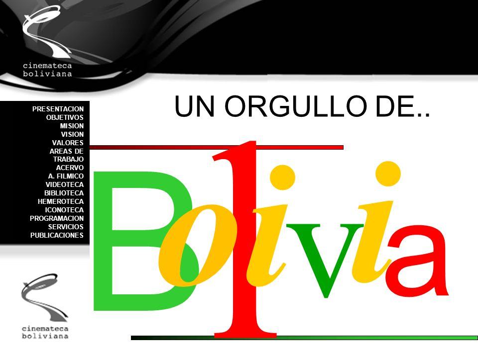 B l v oioi i a PRESENTACION OBJETIVOS MISION VISION VALORES AREAS DE TRABAJO ACERVO A. FILMICO VIDEOTECA BIBLIOTECA HEMEROTECA ICONOTECA PROGRAMACION