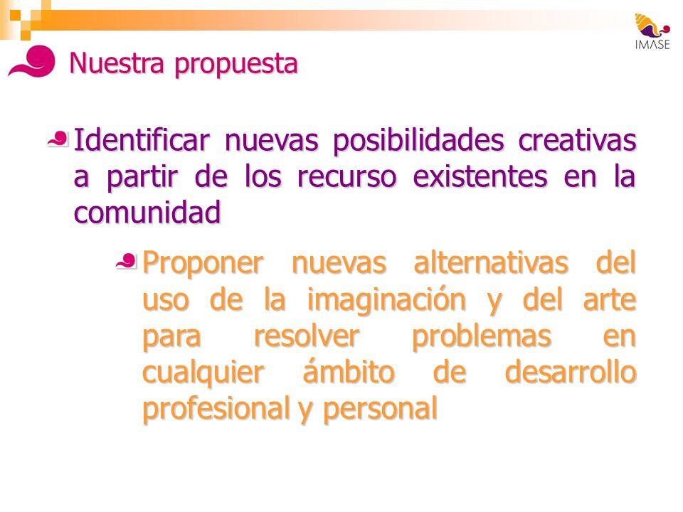 Identificar nuevas posibilidades creativas a partir de los recurso existentes en la comunidad Proponer nuevas alternativas del uso de la imaginación y